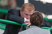 Hibernian manager Neil Lennon speaks to Hibernian CEO Leeann Dempster before the first qualifying round, 1st leg match between Hibernian and NSÍ Runavik at Easter Road, Edinburgh, Scotland on 12 July 2018. Picture by Malcolm Mackenzie.