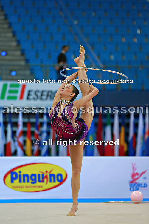 Vass Dora during qualifying at hoop in Pesaro World Cup at Adriatic Arena on April 10, 2015. Dora was born in Budapest on September 08,1991. She is a rhythmic gymnast since 1999 and member of the Hungarian National Team since 2004.