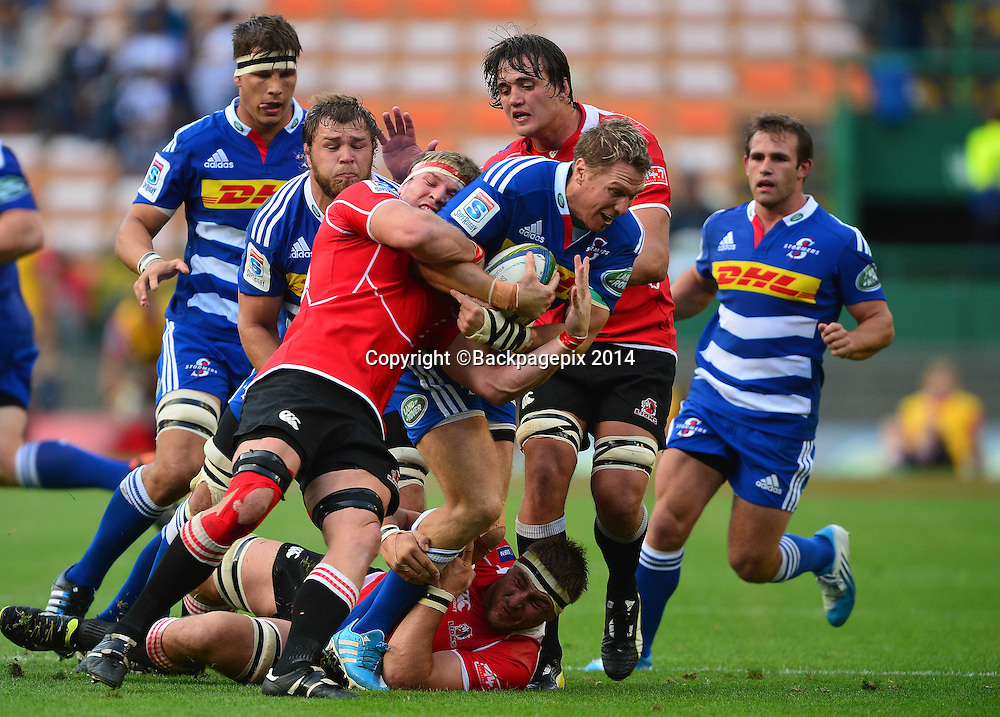 Jean de Villiers of The Stormers tackled by Jaco Kriel of The Lions during the 2014 Super Rugby Match between The Stormers and The Lions at Newlands Stadium, Cape Town on 19 April 2014 ©Chris Ricco/BackpagePix