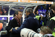 Birmingham City manager Gianfranco Zola and Brighton & Hove Albion manager Chris Hughton during the EFL Sky Bet Championship match between Birmingham City and Brighton and Hove Albion at St Andrews, Birmingham, England on 17 December 2016.