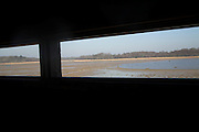 View from bird hide over lagoon, Benacre Broad, national nature, reserve, Suffolk, England