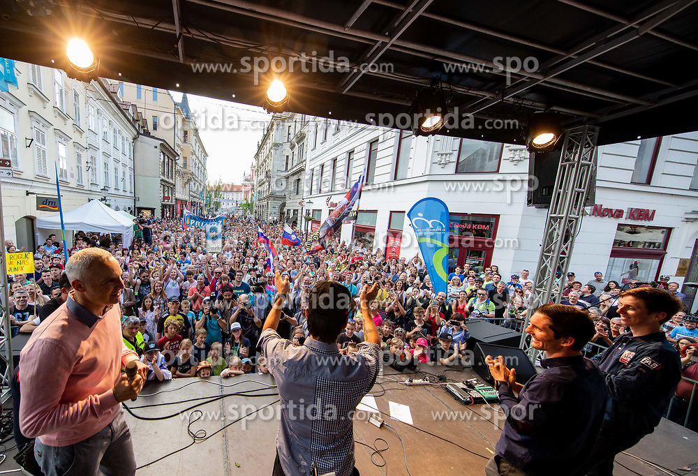Primoz Roglic, Jan Polanc and Tadej Pogacar waving to supporters during reception of best Slovenian riders after Giro d'Italia 2019 and Tour of California 2019, on June 3rd, 2019, in Mestni trg, Ljubljana, Slovenia. Photo by Vid Ponikvar / Sportida