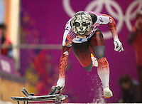 Skeleton: 2014 Winter Olympics: Canada Sarah Reid (16) in action during Women's Heats at Sanki Sliding Center. View of decorated helmet. Krasnaya Polyana, Russia 2/13/2014 CREDIT: Jed Jacobsohn (Photo by Jed Jacobsohn /Sports Illustrated