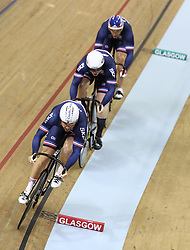 France's Francois Pervis, Quentin Lafarge and Sebastien Vigier in the Team Sprint Men's First Round heat one during day two of the 2018 European Championships at the Sir Chris Hoy Velodrome, Glasgow