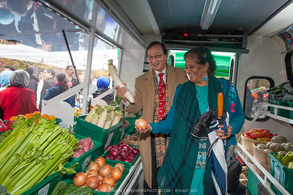 Mobile Good Food Market bus launch, October 31, 2013