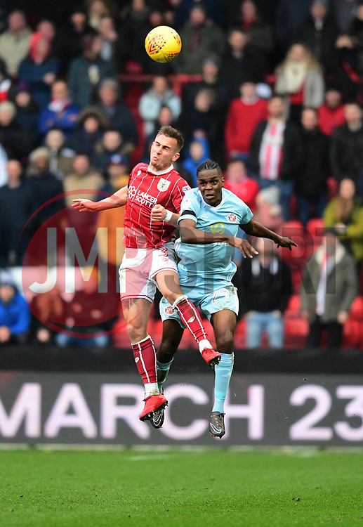 Joe Bryan of Bristol City battles for the high ball with  Joel Asoro of Sunderland  - Mandatory by-line: Joe Meredith/JMP - 10/02/2018 - FOOTBALL - Ashton Gate Stadium - Bristol, England - Bristol City v Sunderland - Sky Bet Championship
