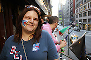 May 8, 2015 - New York, NY. A Rangers fan enjoys herself at a local bar prior to game 5 of the Rangers-Capitals series.  Photograph by Anthony Kane/NYCity Photo Wire