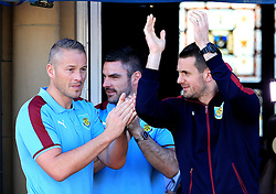 Burnley goalkeepers (L-R) Paul Robinson, Matt Gilks, Tom Heaton - Mandatory by-line: Matt McNulty/JMP - 09/05/2016 - FOOTBALL - Burnley Town Hall - Burnley, England - Burnley FC Championship Trophy Presentation