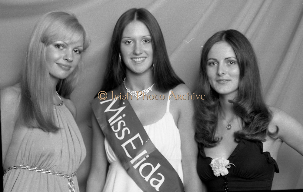 """Miss Elida"" Final At Mosney, Co Meath..1976..01.09.1976..09.01.1976..1st September 1976..The final of the ""Miss Elida"" lovely hair competition was held in The Gaiety Theatre,Butlins Holiday Centre,Mosney,Co Meath tonight. The competition is sponsored by Lever Bros,Sheriff St,Dublin. The shows compere was Mr Mike Murphy..Pictured (from left) Ms Rosaleen Battles,Kildimo, Co Limerick, (second), Ms Frances Campbell,Culmore Road, Derry (winner) and Ms Fidelma Feeney, Foxrock, Co Dublin who was third in the competition."