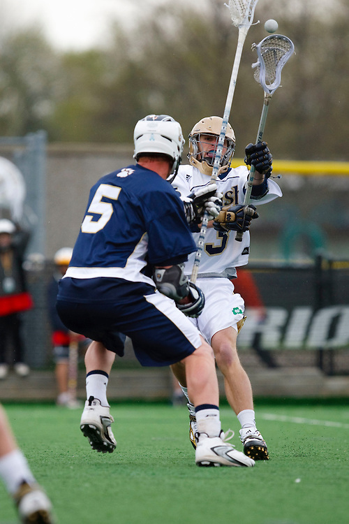 May 1, 2009:    #5 Leahy, Crandon of Quinnipiac and #3 Dan Gibson of Notre Dame in action during the NCAA Lacrosse game between Notre Dame and Quinnipiac at GWLL Tournament in Birmingham, Michigan. (Credit Image: Rick Osentoski/Cal Sport Media)