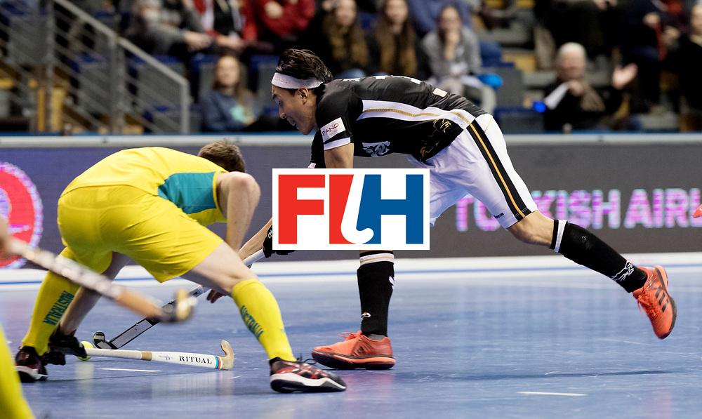BERLIN - Indoor Hockey World Cup<br /> Men: Germany - Australia<br /> foto: Daniel Nguyen.<br /> WORLDSPORTPICS COPYRIGHT FRANK UIJLENBROEK
