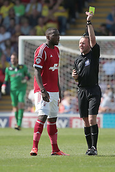 Nottingham Forest's Ishmael Miller receives a yellow card from   referee Oliver Langford   - Photo mandatory by-line: Nigel Pitts-Drake/JMP - Tel: Mobile: 07966 386802 25/08/2013 - SPORT - FOOTBALL -Vicarage Road Stadium - Watford -  Watford v Nottingham Forest - Sky Bet Championship