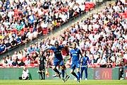 Arsenal defender Hector Bellerin (24), Chelsea (11) Pedro during the FA Community Shield match between Arsenal and Chelsea at Wembley Stadium, London, England on 6 August 2017. Photo by Sebastian Frej.
