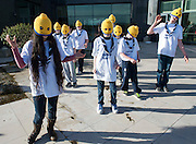 16/02/2014   Wicklow Wild scouts from  Wicklow town  had a novel approach and wore lego knitted heads for this year's FIRST Lego League Challenge at the Radisson Blu Hotel Galway. The Winners of this years challenge were St Gerard's from Castlebar , Co Mayo. Photo:Andrew Downes.