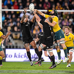 Malakai Fekitoa of the All Blacks, Kieran Read of the All Blacks and Scott Fardy of the Wallabies competes for a loose high ball during the Investec Rugby Championship match between the New Zealand All Blacks and the Australia Wallabies at Westpac Stadium in Wellington, New Zealand on Saturday, 27 August 2016. Photo: Marco Keller / www.lintottphoto.co.nz