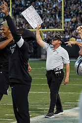 OAKLAND, CA - NOVEMBER 17: Head coach Jon Gruden of the Oakland Raiders celebrates on the sidelines during the fourth quarter against the Cincinnati Bengals at RingCentral Coliseum on November 17, 2019 in Oakland, California. The Oakland Raiders defeated the Cincinnati Bengals 17-10. (Photo by Jason O. Watson/Getty Images) *** Local Caption *** Jon Gruden