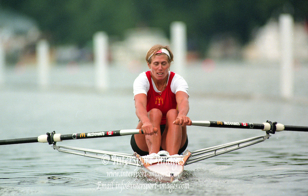 Henley. United Kingdom.  CAN W1X, Silken LUMANN, competing in the Princess Royal Sculls Challenge and the FISA World Cup event. Men and Women's single Sculls at the 1995 Henley Royal Regatta. Henley Reach, England.<br /> <br /> {Mandatory Credit: Peter SPURRIER/Intersport Images]