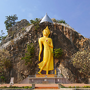 Buddha image in a rock face at Khao Ngu, Ratchaburi prvince, Thailand in January 2007