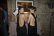 ROSIE MAYHEW AND KATHERINE DAVIDSON. Discover Wilton's Music Hall, Fundraising event. Graces alley, Ensign St. London. 5 December 2007. -DO NOT ARCHIVE-© Copyright Photograph by Dafydd Jones. 248 Clapham Rd. London SW9 0PZ. Tel 0207 820 0771. www.dafjones.com.