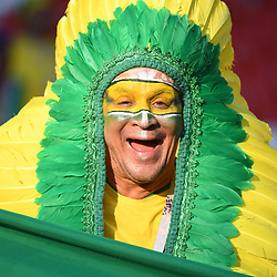 A fan of Brazil during the FIFA World Cup Group E match between Serbia and Brazil on June 27, 2018 in Moscow, Russia. (Photo by Anthony Dibon/Icon Sport)