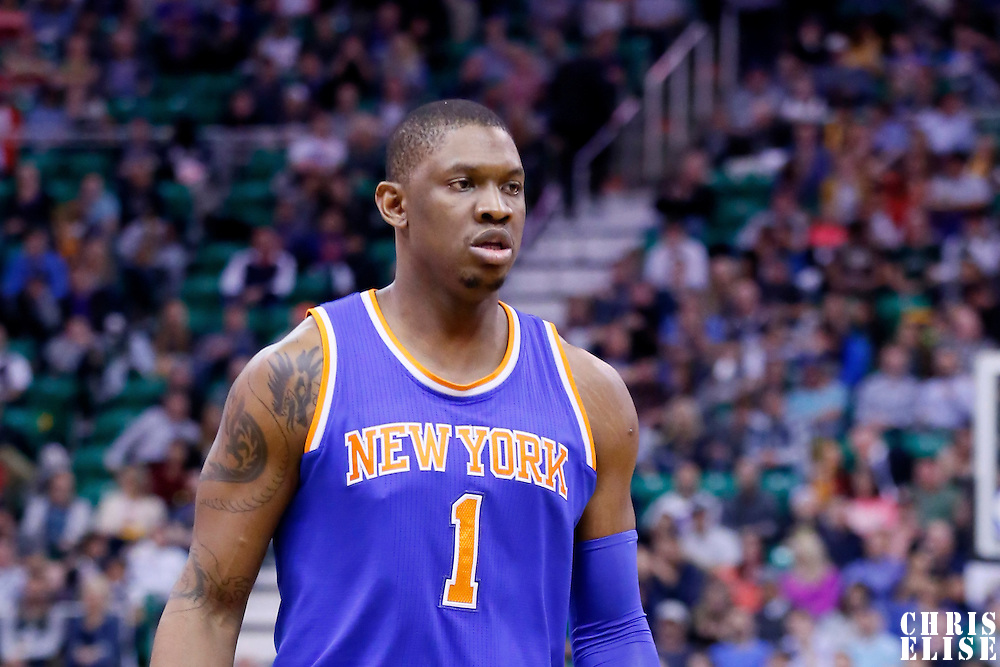 09 December 2015: New York Knicks center Kevin Seraphin (1) is seen during the Utah Jazz 106-85 victory over the New York Knicks, at the Vivint Smart Home Arena, Salt Lake City, Utah, USA.