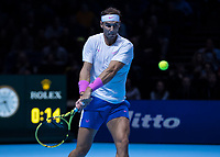 Tennis - 2019 Nitto ATP Finals at The O2 - Day Two<br /> <br /> Singles Group Andre Agassi: Rafael Nadal (Spain) Vs. Alexander Zverev (Germany)<br /> <br /> Rafael Nadal (Spain) prepares to return with a backhand <br /> <br /> COLORSPORT/DANIEL BEARHAM<br /> <br /> COLORSPORT/DANIEL BEARHAM