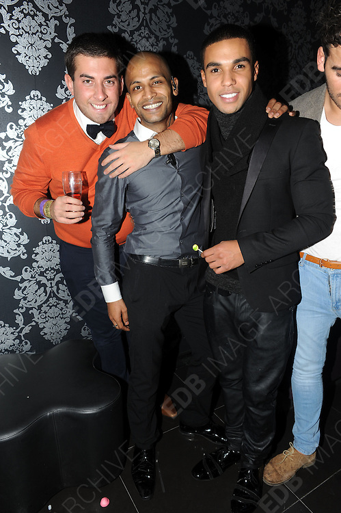 09.DECEMBER.2012. LONDON<br /> <br /> JAMES ARGENT AND LUCIEN LAVISCOUNT AT THE X-FACTOR FINAL AFTERPARTY AT BIJOUS NIGHT CLUB IN MANCHESTER.<br /> <br /> BYLINE: EDBIMAGEARCHIVE.CO.UK<br /> <br /> *THIS IMAGE IS STRICTLY FOR UK NEWSPAPERS AND MAGAZINES ONLY*<br /> *FOR WORLD WIDE SALES AND WEB USE PLEASE CONTACT EDBIMAGEARCHIVE - 0208 954 5968*