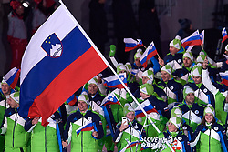 South Korea, PyeongChang - 2018 February 09: Cross-country skier Vesna Fabjan of Slovenia carries the national flag of Slovenia during the Parade of Nations while Opening Ceremony of The 2018 PyeongChang Olympic Winter Games at PyeongChang Olympic Stadium on February 09, 2018 in PyeongChang, South Korea.<br /> <br /> Mandatory credit:<br /> Photo by © Adam Nurkiewicz<br /> <br /> Adam Nurkiewicz declares that he has no rights to the image of people at the photographs of his authorship.<br /> <br /> Picture also available in RAW (NEF) or TIFF format on special request.<br /> <br /> Any editorial, commercial or promotional use requires written permission from the author of image.