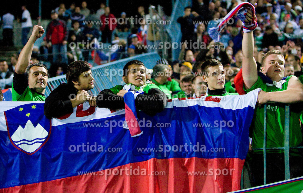 Fans of Slovenia celebrate after  the 2010 FIFA World Cup South Africa Qualifying match between Slovakia and Slovenia, on October 10, 2009, Tehelne Pole Stadium, Bratislava, Slovakia.  (Photo by Vid Ponikvar / Sportida)
