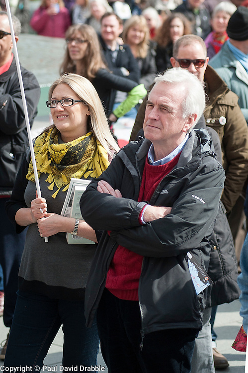 The Labour Shadow Chancellor John McDonnell watches fellow speakers at a  rally held in Sheffield on Saturday 9 April, to protest against the Department for Business, Innovation and Skills (BIS) announcement that it will close BIS Sheffield, its biggest office outside London.<br /> <br />  09 April 2016<br />  Copyright Paul David Drabble<br />  www.pauldaviddrabble.photoshelter.com<br />  www.pauldaviddrabble.co.uk