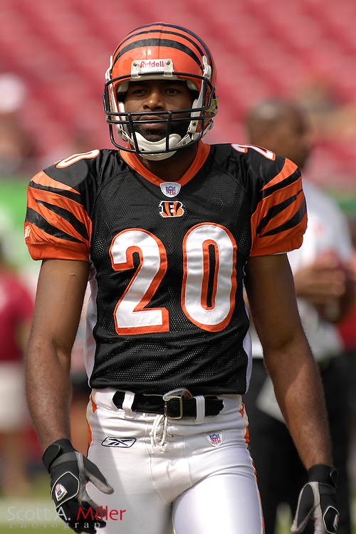 Oct. 15, 2006; Tampa, FL, USA; Cincinnati Bengals (20) defender  Tory James during warmups prior to the Bengals game with the Tampa Bay Buccaneers at Raymond James Stadium. ...©2006 Scott A. Miller