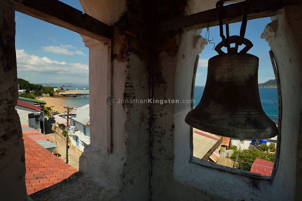 The bell tower of San Pedro church, built in the 16th century and the second oldest church in the Western Hemisphere, overlooking Taboga Island, near Panama City, Panama.