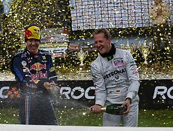 27.11.2010, Esprit Arena, Düsseldorf, GER, Race of Champions, im Bild Sebastian Vettel (GER, F1 Red Bull Racing) links und Michael Schumacher (GER, F1 Mercedes GP), EXPA Pictures © 2010, PhotoCredit: EXPA/ A. Neis