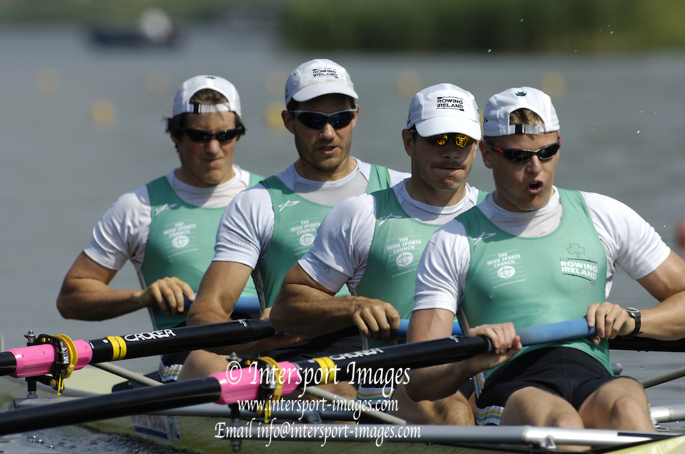 Poznan, POLAND.  2006, FISA, Rowing World Cup, IRL1, M4- bow Cormacc FOLAn, Sean BEAN, Con COLLIS, Alan MARTIN, move away from the start pontoon at the   'Malta Regatta course;  Poznan POLAND, Fri. 16.06.2006. © Peter Spurrier   ....[Mandatory Credit Peter Spurrier/ Intersport Images] Rowing Course:Malta Rowing Course, Poznan, POLAND