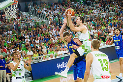 Zoran Dragic of Slovenia and Justin Dolleman of Kosovo during qualifying match between Slovenia and Kosovo for European basketball championship 2017,  Arena Stozice, Ljubljana on 31th August, Slovenia. Photo by Grega Valancic / Sportida