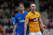 Nikola Katic (#19) and Conor Sammon (#19) of Motherwell FC during the Ladbrokes Scottish Premiership match between Motherwell and Rangers at Fir Park, Motherwell, Scotland on 26 August 2018.