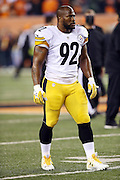 Pittsburgh Steelers outside linebacker James Harrison (92) looks on before the NFL AFC Wild Card playoff football game against the Cincinnati Bengals on Saturday, Jan. 9, 2016 in Cincinnati. The Steelers won the game 18-16. (©Paul Anthony Spinelli)