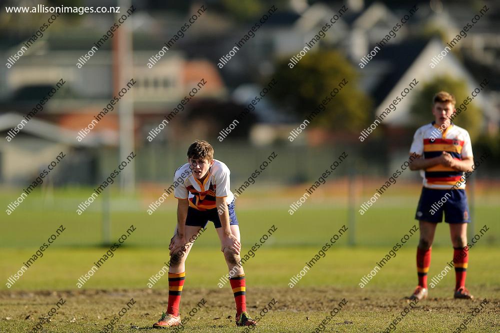 Hunter Cleland of John McGlashan looks on, during the ODT Cup match between Kings High School and John McGlashan College, held at Kings High School, Dunedin, New Zealand,  20 June 2015. Credit: Joe Allison / allisonimages.co.nz
