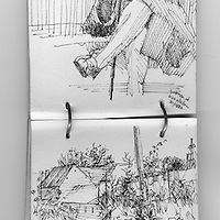 Sketchbook drawings of old lady at bus station and rural lane with traditional high hedgerows in Pinhoe, Devon, England.