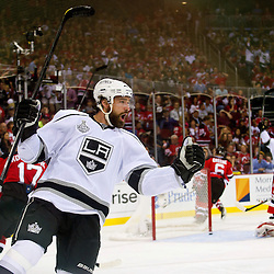 June 9, 2012: Los Angeles Kings right wing Justin Williams (14) celebrates his goal on New Jersey Devils goalie Martin Brodeur (30) during second period action in game 5 of the NHL Stanley Cup Final between the New Jersey Devils and the Los Angeles Kings at the Prudential Center in Newark, N.J.