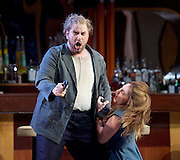 Rigoletto <br /> by Verdi <br /> English National Opera at the London Coliseum, London, Great Britain <br /> rehearsal <br /> 31st January 2017 <br /> <br /> <br /> <br /> Nicholas Pallesan as Rigoletto <br /> <br /> <br /> Sydney Mancasola as Gilda <br /> <br /> <br /> <br /> <br /> <br /> <br /> Photograph by Elliott Franks <br /> Image licensed to Elliott Franks Photography Services