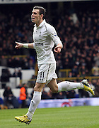 GARETH BALE CELEBRATES HIS GOAL.TOTTENHAM HOTSPUR V NEWCASTLE UNITED.TOTTENHAM HOTSPUR V NEWCASTLE UNITED. BARCLAYS PREMIER LEAGUE.LONDON, ENGLAND, UK.09 February 2013.GAQ65403..  .WARNING! This Photograph May Only Be Used For Newspaper And/Or Magazine Editorial Purposes..May Not Be Used For Publications Involving 1 player, 1 Club Or 1 Competition .Without Written Authorisation From Football DataCo Ltd..For Any Queries, Please Contact Football DataCo Ltd on +44 (0) 207 864 9121