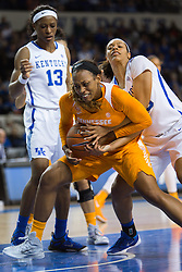 Tennessee forward Bashaara Graves, center, fights for a rebound with Kentucky forward/center Alexis Jennings in the first half.<br /> <br /> The University of Kentucky hosted the University of Tennessee, Monday, Jan. 25, 2016 at Memorial Coliseum in Lexington .