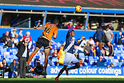 Wolverhampton Wanderers Conor Coady heads clear during the Sky Bet Championship match between Birmingham City and Wolverhampton Wanderers at St Andrews, Birmingham, England on 31 October 2015. Photo by Shane Healey.