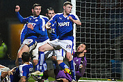 Chesterfield FC goalkeeper Tommy Lee watches the ball go in to the back of the goal as Shrewsbury score in the second half during the Sky Bet League 1 match between Chesterfield and Shrewsbury Town at the Proact stadium, Chesterfield, England on 2 January 2016. Photo by Aaron Lupton.