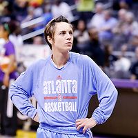 08 August 2014: Atlanta Dream guard Celine Dumerc (9) is seen prior to the Los Angeles Sparks 80-77 overtime win over the Atlanta Dream, at the Staples Center, Los Angeles, California, USA.