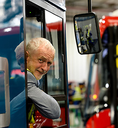 Labour leader Jeremy Corbyn tests out a new bus at the Alexander Denis factory in Falkirk.<br /> <br /> &copy; Dave Johnston / EEm