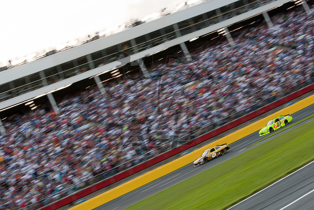 CONCORD, NC - MAY 21, 2011:  David Ragan and Paul Menard take to the track for the Showdown at the Charlotte Motor Speedway in Concord, NC.