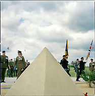 Suez Veterans meet at the 50th Anniversary of the withdrawal from the Suez Canal in 1956. The event was held at the National Memorial Arboretum near Lichfield, UK. .Photo shows the memorial of mini-pyramid..Photo©Steve Forrest /Workers Photos.