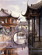 Shanghai c1865. View of canal lined with buildings.  Jean Henri Zuber (1844-1909) French artist. Watercolour.